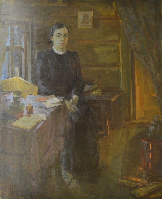 Nadezhda Eliseevna Chernikova, 'Village teacher', 1950, Surikov Foundation