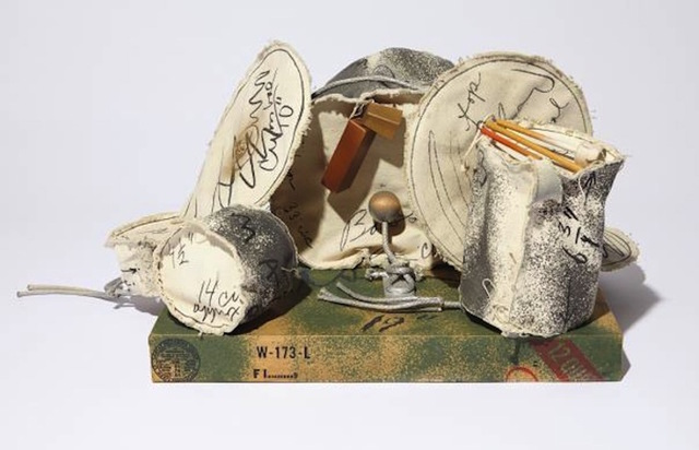 Claes Oldenburg, 'Miniature Soft Drum Set', 1969, Sculpture, Complete set of 9 sewn screen printed elements on canvas, some with washline, wood, plastic buttons, rope, metal eye screws and spray enamel with wood base covered with screen printed paper in colors., Gregg Shienbaum Fine Art