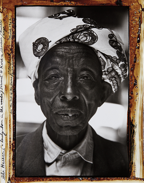 "Peter Beard, 'Ali Hassan (""a lonely horn in the woods"") Servant to Karan Blixen, Nairobi Kenya for the End of the Game', 1962, Photography, Gelatin silver print with ink and blood, executed later, Phillips"