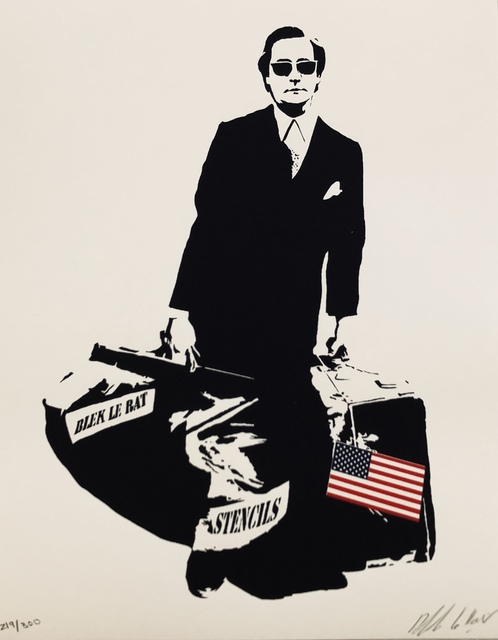 Blek le Rat, 'The Man Who Walks Through Walls in luxury book-case with gold foil rat on top. This Iconic piece is the special USA edition.', 2008, Vintage Deluxe