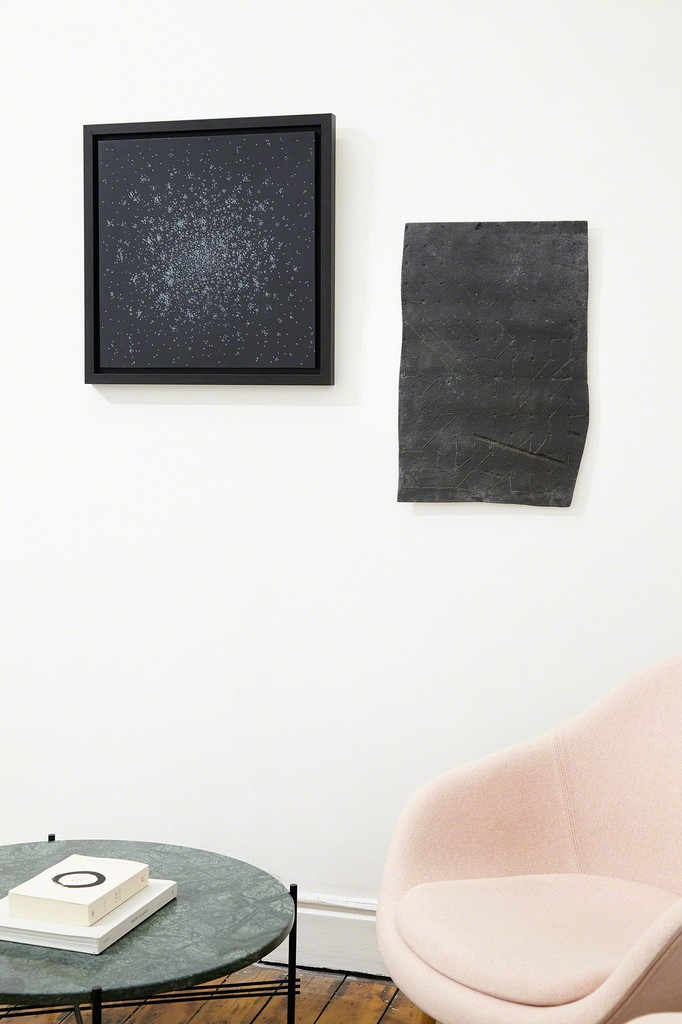 Jana Emburey | Clusters, 2015, monotype and acrylic on Japanese Kozo paper, 50 x 50 cm. [left]