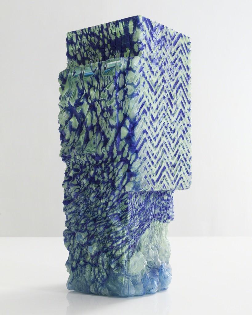 Unique blown glass vessel in blue and light aqua
