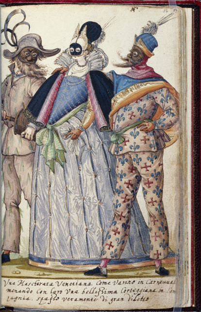 Niclauss Kippell, 'Venetian Revellers', ca. 1588, Drawing, Collage or other Work on Paper, Paper with tempera and ink, Walters Art Museum