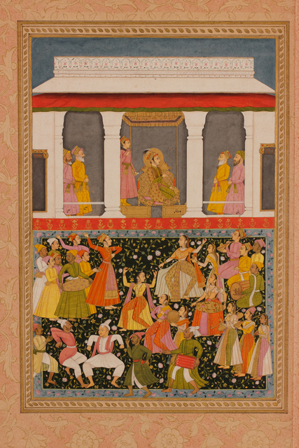 , 'Khavar Shah Celebrates the Reunion of Mihr and Mah Folio from a dispersed Romance of Mihr,' 1719, Muhammad Shah Reign (1719–48), late Mughal Period (1526–1857), Phoenix Art Museum