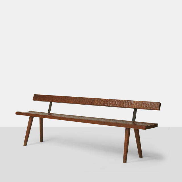 Jean Touret, 'Jean Touret Oak Bench with Back for Atelier Marolles', 1950-1959, Almond & Co.