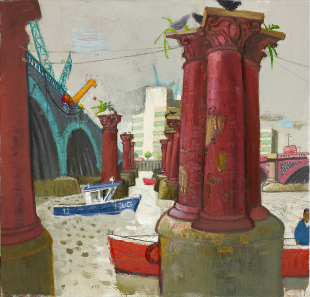 , 'Yellow Crane and Columns, Old Blackfriars,' 2013, John Martin Gallery