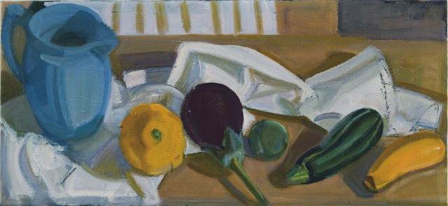 , 'Blue Pitcher with Stripped Green and Yellow Squash and Eggplant,' 2014, BCK Fine Arts Gallery at Montauk