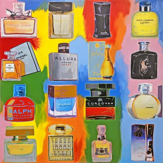 Steve Kaufman, 'PERFUME! COLLAGE - 16 BOTTLES', 2001-2007, Gallery Art