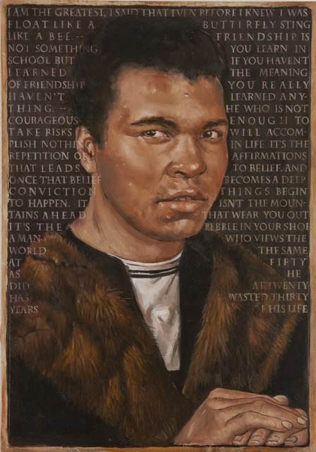 , 'It Isn't the Mountains Ahead that Wear You Out It's The Pebble In Your Shoe - Portrait of Mohammed Ali and his quotes after Hans Memling's Portrait of a Man against a Dark Background,' 22000, Francis M. Naumann Fine Art