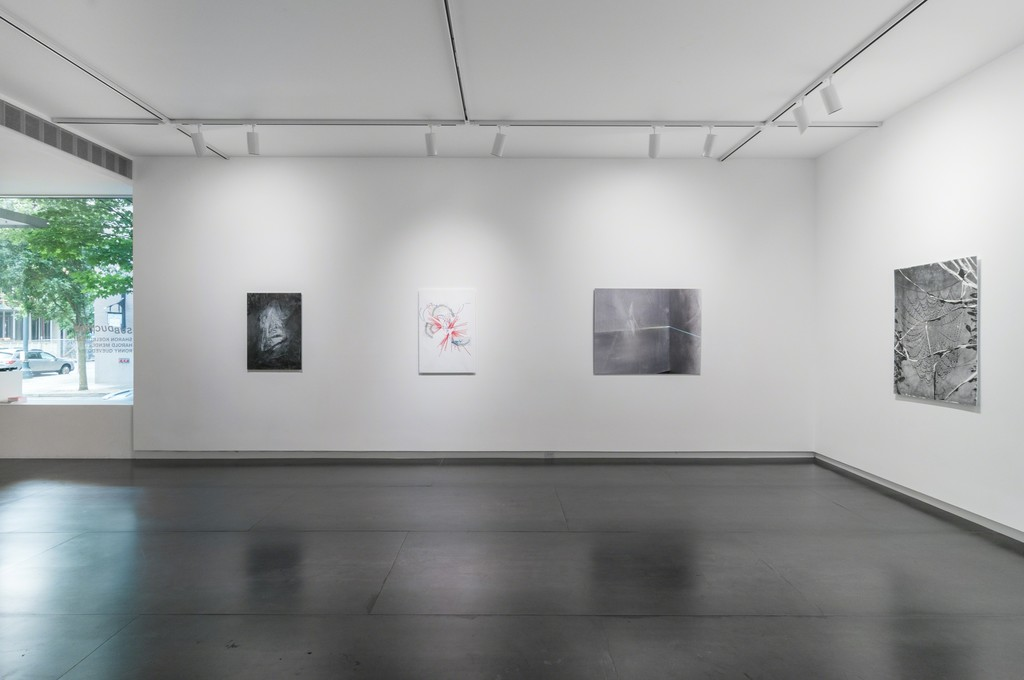 From left to right: Also in people: parts are wedges: and, to the parts they keep apart (After Sudek) by Harold Mendez; notes on the poetics of relation #2 by Ronny Quevedo; Star Form 5-20 by Sharon Koelblinger; At night we walk in circles by Harold Mendez. Photo by Mario Gallucci.