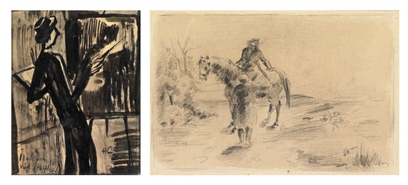 Landscape with horserider asking for guidance; Maleren vid Staffeliet