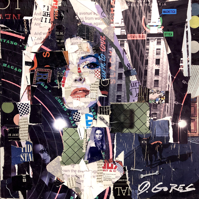 """Derek Gores, '""""Ms Elle"""" Collage of a woman's face with black, purple, and red', 2019, Drawing, Collage or other Work on Paper, Paper on Canvas, Eisenhauer Gallery"""