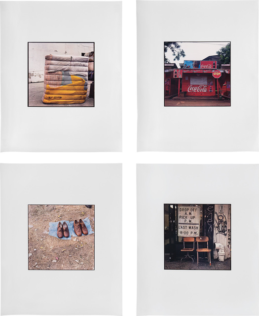 Zoe Leonard, 'Four works: (i) Yellow, Pink, Blue Bundle; (ii) Coca Cola shack; (iii) Two Pairs; (iv) Drop Off A.M. Pick Up P.M.', Photography, 4 dye transfer prints, Phillips
