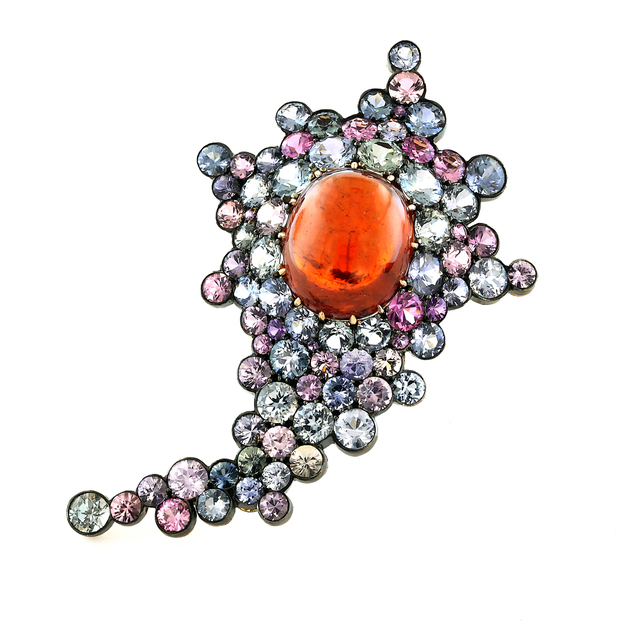 , 'Spessarite Cabochon, Burma Sapphire, Oxidized Silver, Blackened 18K White  Gold and 18K Rose Gold Brooch,' , Taffin