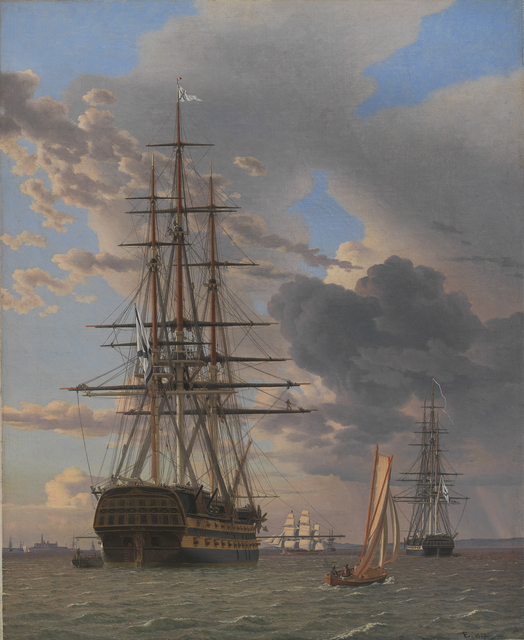 , 'The Russian Ship of the Line Asow and a Frigate at Anchor near Elsinore,' 1828, Statens Museum for Kunst