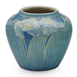 Newcomb College, Transitional Vase With White Poppies, New Orleans, LA