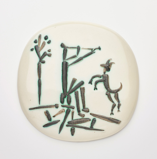 Pablo Picasso, 'Joueur de flûte et chèvre (Flute Player and Goat)', 1956, Design/Decorative Art, White earthenware plaque, painted in colours with partial brushed glaze., Phillips