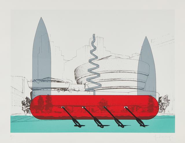 Claes Oldenburg, 'Knife Ship Superimposed on the Solomon R. Guggenheim Museum', 1986, Phillips