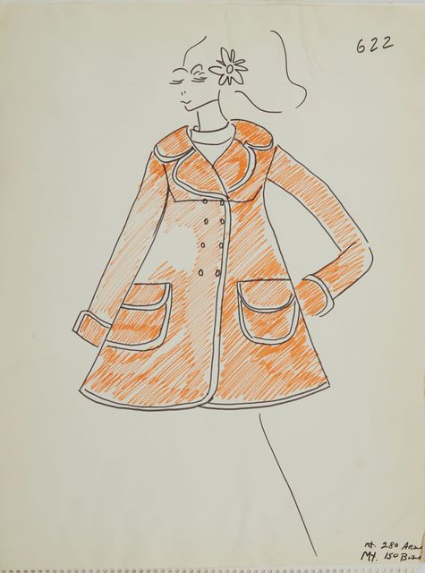 Karl Lagerfeld, 'Karl Lagerfeld Original Fashion Sketch Ink Drawing with Marker 622 Contemporary', 1963-1969, Mixed Media, Ink Pen with Marker on Paper, Modern Artifact