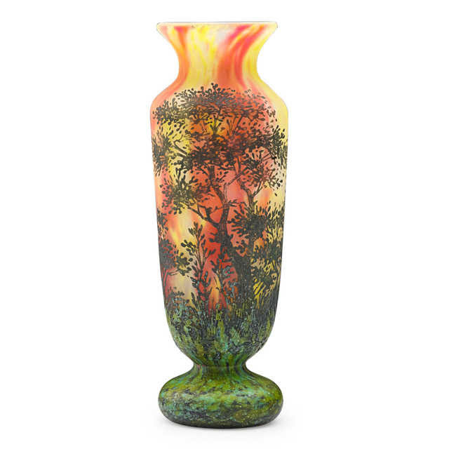 Daum, 'Vase With Trees And Shrubs, France', Early 20th C., Rago/Wright
