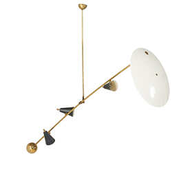 Three light counter balance ceiling lamp, with diffuser