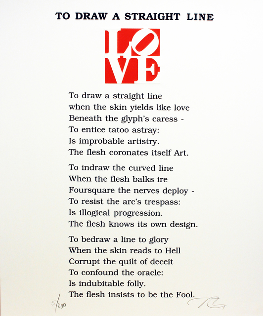 Robert Indiana, 'To Draw A Straight Line Poem, Book of Love', 1996, Woodward Gallery