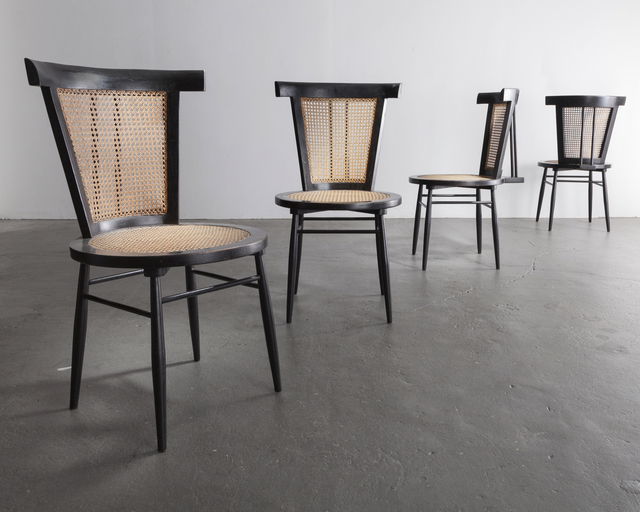 ", 'Set of four ""Small Chairs"" in solid black lacquered wood,' 1960, R & Company"
