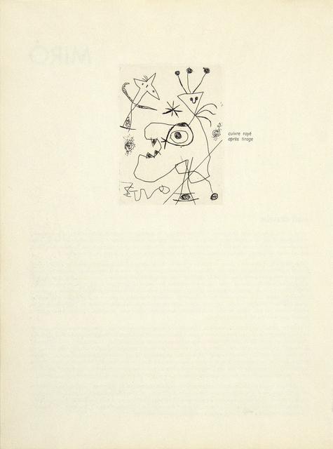 Joan Miró, 'L'Aigrette (The Plumed Hat)', 1956, Heather James Fine Art Gallery Auction