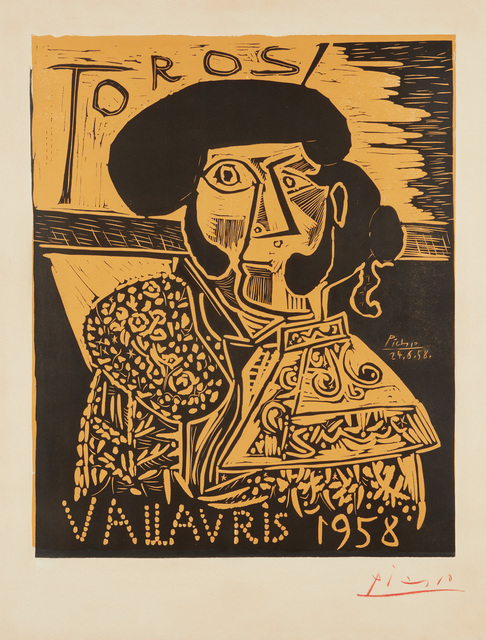 Pablo Picasso, 'Toros Vallauris', 1958, Print, Linocut in black and orange, on smooth wove paper, with full margins., Phillips