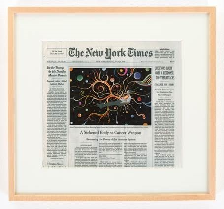 Fred Tomaselli, 'NYTimes, Sunday, July 31, 2016', 2016, Print, Gouache and archival inkjet print on watercolor paper, Cancer Research Institute Benefit Auction