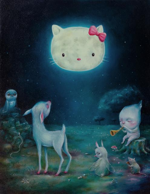 Dilka Bear, 'Kittymoon', 2019, Painting, Oil on wood, Corey Helford Gallery
