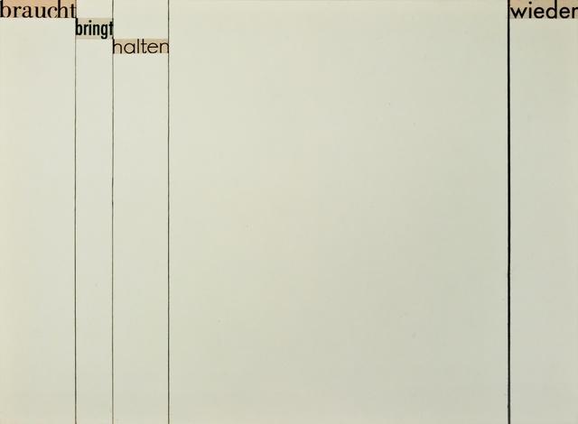 , '(braucht bringt halten wieder),' 1958, Christine König Galerie