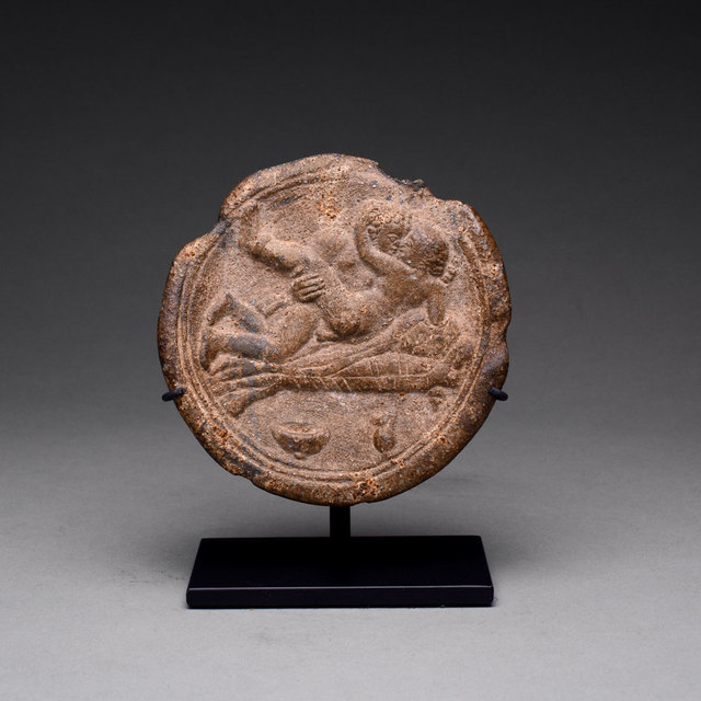 Unknown Roman, 'Roman Lead Erotic Plate', 100 AD to 300 AD, Barakat Gallery