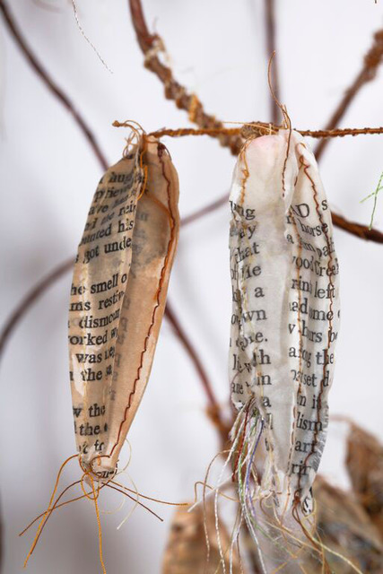 Lisa Kokin, 'Beginnings and Endings', 2013, Sculpture, Cowboy book pages, thread, beeswax, wire, mull, cotton batting, Seager Gray Gallery