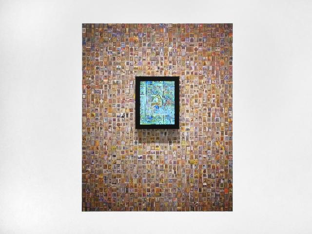 Jason Salavon, 'Narrative Walk (Illuminated Manuscripts)', 2019, Installation, Wallpaper, real-time video, custom software, framed monitor, Inman Gallery