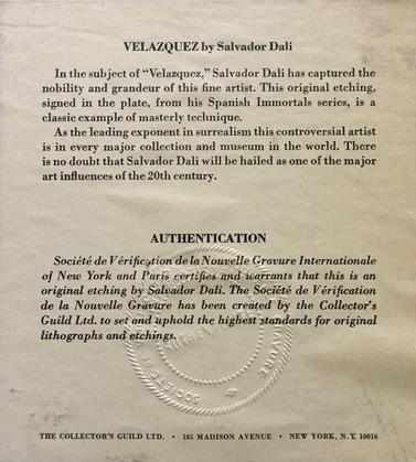 Salvador Dalí, 'Velasquez', ca. 1968, Print, Black ink on eggshell colored paper,  Objets Trouvés