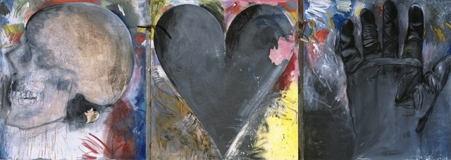 Jim Dine, 'Untitled (Skull, Heart, Glove)', 1985, Painting, Oil and charcoal on canvas with metal objects, Yale University Art Gallery