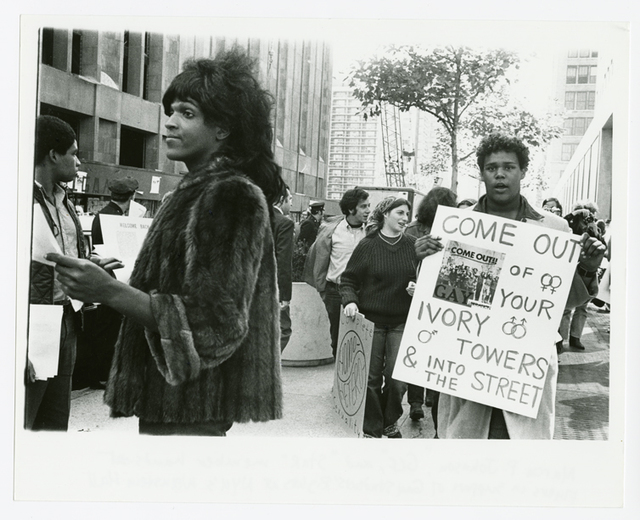 , 'Untitled (Marsha P. Johnson Hands Out Flyers For Support of Gay Students at N.Y.U.),' ca. 1970, Grey Art Gallery