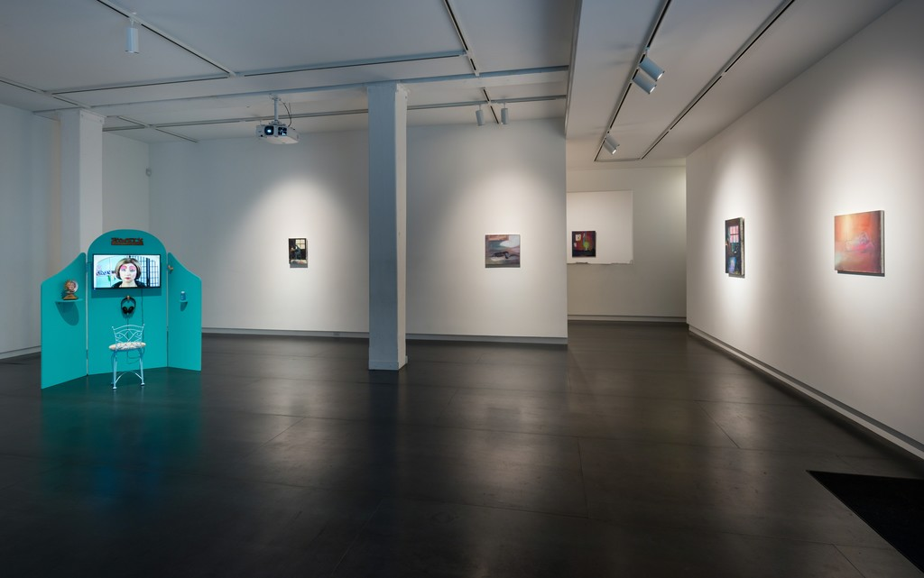 Oil paintings by Heidi Hahn, video installation by Shana Moulton. Photo by Mario Gallucci.