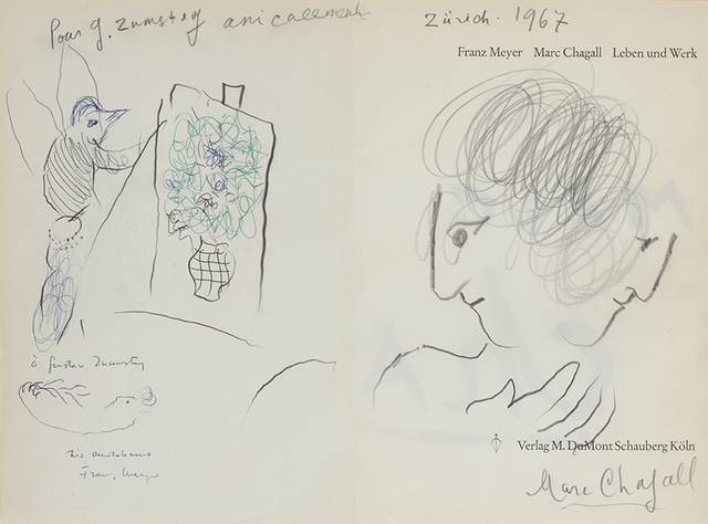 Marc Chagall, 'Double Profil Et Coq Peintre Pour G.Zumsteg', 1967, Drawing, Collage or other Work on Paper, Ballpoint pen, Blu felt and pencil on double paper, DIGARD AUCTION
