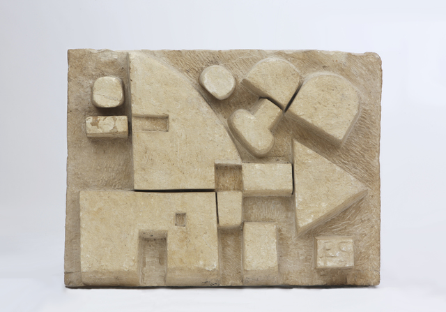 ", '""Le Chasseur"" Large directly carved abstract bas relief on Euville Lorraine limestone,' 1960, Magen H Gallery"