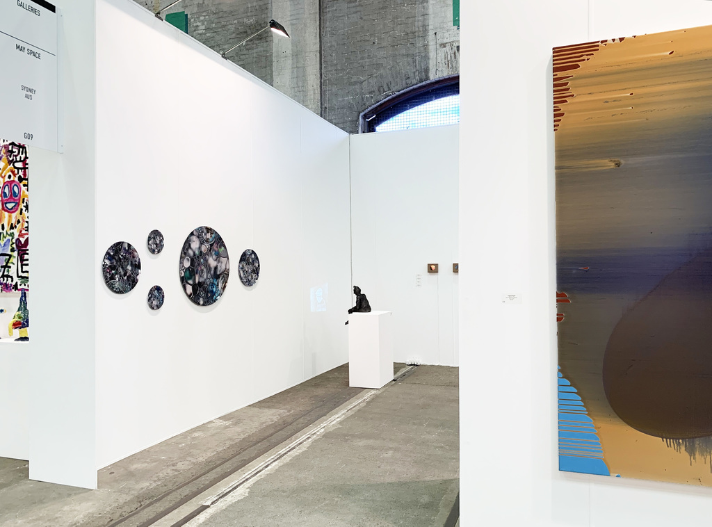 MAY SPACE at Booth G09, Installation 2 - 12th September, 2019 featuring: Janet Tavener, 'Seedless Collection #3', 2019, ChromaLuxe. Todd Fuller, 'Harry 2', 2019, terracotta, silver paint, ink, data projector on timber plinth, animation 'To see the ocean for the first time' AP, 4:47. Waratah Lahy, collection of oil on glass, recycled Tasmanian oak light boxes.  Charlie Sheard, 'Aitia', 2013-19, acrylic mediums on polyester.