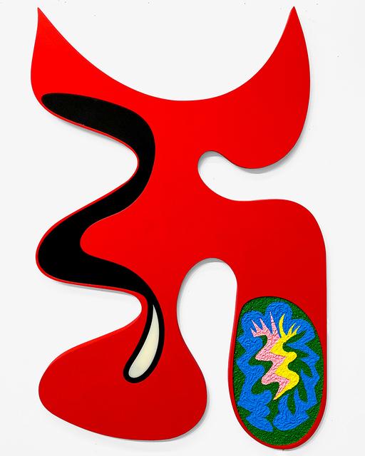 Carlos Rosales-Silva, 'Diablo en el Jardin', 2019, Painting, Crushed stone, acrylic paint, and acrylic plastic on custom shaped panel, Ruiz-Healy Art