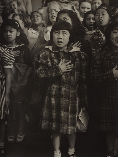 Dorothea Lange, 'Pledge of Allegiance at Raphael Weill Elementary School a Few Weeks Prior to Evacuation, San Francisco', 1942, Photography, Gelatin silver print., Phillips