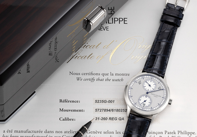 Patek Philippe, 'A very fine and rare white gold annual calendar wristwatch with two tone silvered regulator dial, certificate of origin and presentation box', 2017, Phillips