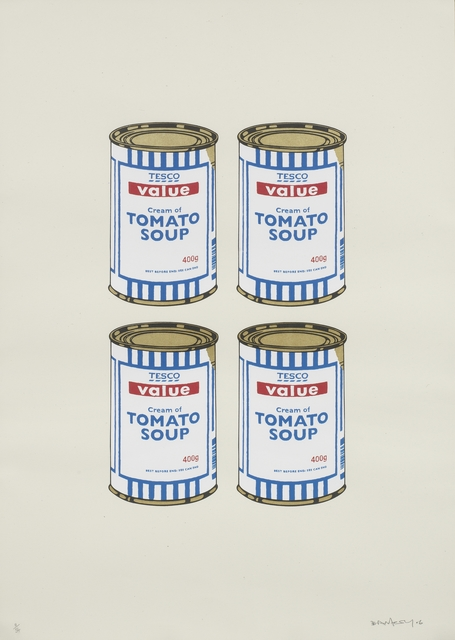 Banksy, 'Four Soup Cans (Gold on Cream) ', 2006, Fine Art Mia