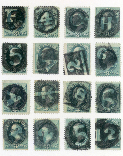 , 'sixteen stamps with letter and number fancy cancels,' 2013, Pace/MacGill Gallery