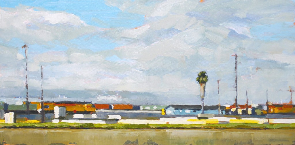 "Kanna Aoki ""Train Yard"" oil/canvas 10""x20"""