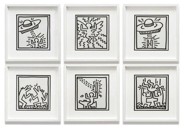 After Keith Haring, 'Alien Attack I, Flying Angel, Alien Attack II, Barking Dogs, Laser Beam, and Party', 1982, Roseberys