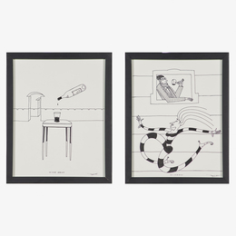 """Two drawings on the subject of wine, """"Wine Drop"""" and """"Window,"""" New York/Los Angeles, CA (framed)"""